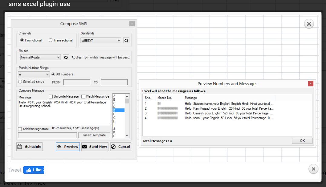 Sms through EXcelsheet plugin